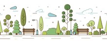 Empty Modern City Park With Trees, Bushes, Benches And Street Lights Vector Illustration In Line Art Style. Horizontal Garden Or Public Recreational Place Infrastructure Seamless Pattern