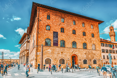 FLORENCE, ITALY- MAY 13, 2017: Beautiful landscape urban and historical view of the Florence - the city of the Renaissance on Arno river. Galileo museum. Italy.