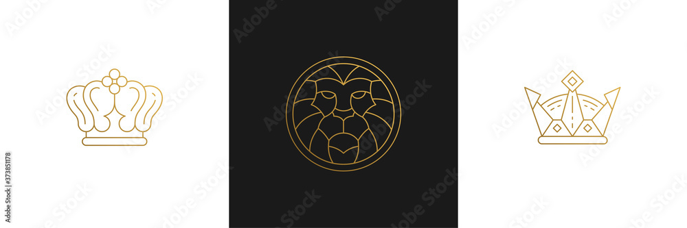 Fototapeta Vector line elegant decoration design elements set - lion head and king crowns illustrations minimal linear style