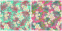 Luxurious Elegant Pattern With Trendy 80s Splendor Tropical Flowers And Palm Leaves Fashion Accessories, Pattern For Fabric Or Wrapping Paper Of Your Design