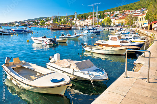 Tourist town of Selce waterfront and harbor view Canvas Print