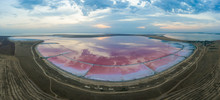 The Pink Lake Is Stained With Dunaliella Salina Bacteria. Panorama.