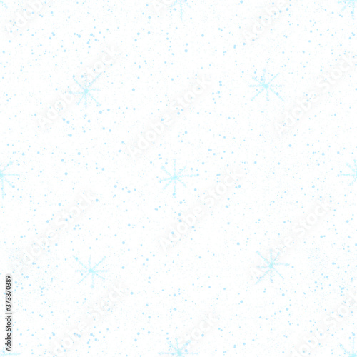 Hand Drawn blue Snowflakes Christmas Seamless Patt