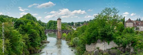 medieval bridge over river Gave de Pau in Orthez - France