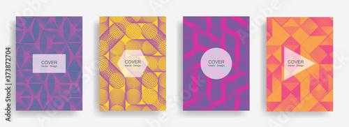 Tablou Canvas Halftone shapes business catalog covers vector design.