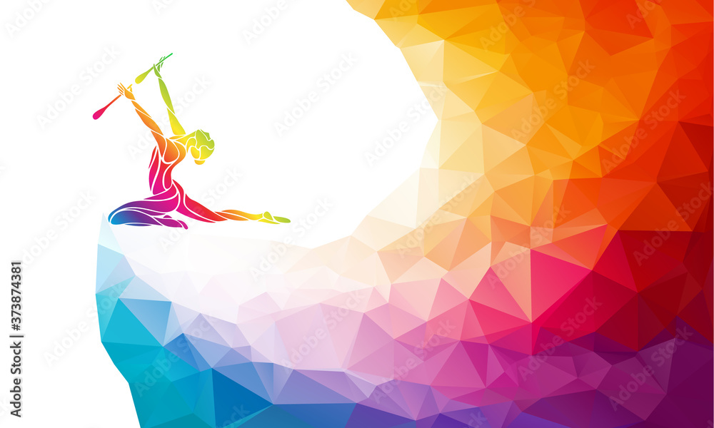 Fototapeta Creative silhouette of gymnastic girl. Rhythmic gymnastics with clubs polygonal illustration