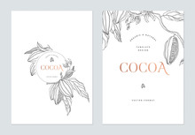 Creative Poster Template Design, Line Art Illustration Of Cocoa And Leaves On White