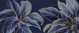 Golden leaf botanical modern art deco wallpaper background vector. Line arts background design for interior design, vector arts, fashion textile patterns, textures, posters, wrappers, gifts etc. - 373881777
