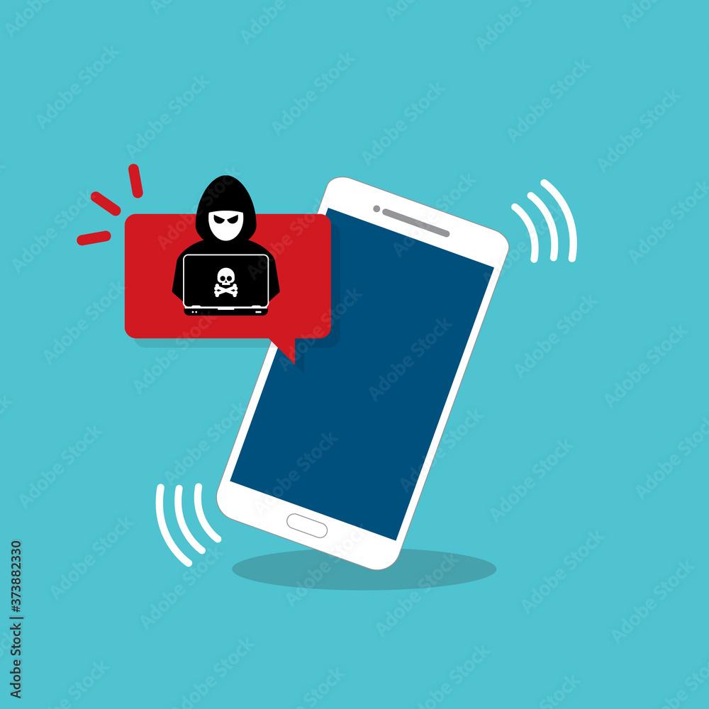 Fototapeta Malware notification on mobile phone. Smartphone with alert, spam data on cellphone fraud error message, scam, virus. Flat vector illustration.