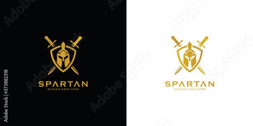 Fotografie, Obraz spartan logo and vector design helmet and head