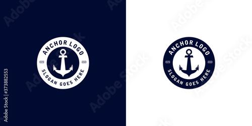 Foto Anchor nautical marine circle seal logo design with text