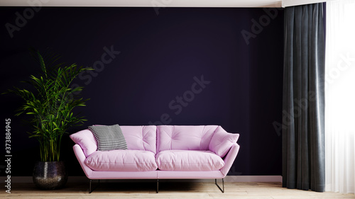 Fototapeta 3d rendering of a fragment of a living room with a pink powdery sofa and a dark blue-purple wall