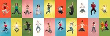 Collage Of Portraits Of 11 Young Jumping People On Multicolored Background In Motion And Action. Concept Of Human Emotions, Facial Expression, Sales. Smiling, Cheerful, Happy. Using Devices, Gadgets.