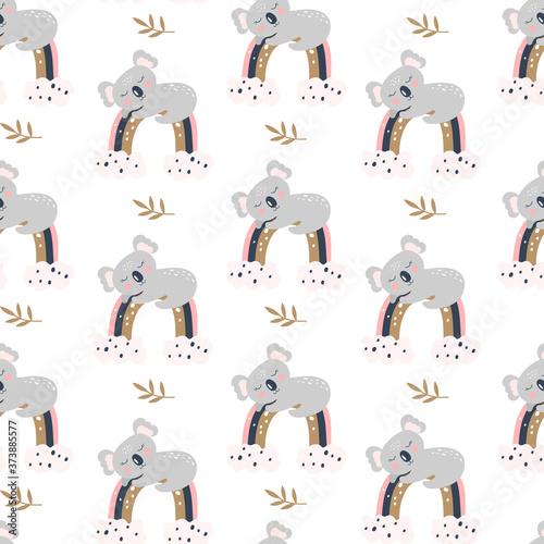 Obraz na plátně Seamless pattern with cute koala on a white background. Vector