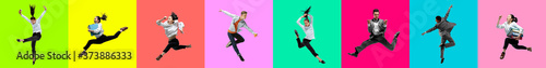 Collage of portraits of 4 young jumping people on multicolored background in motion and action. Concept of human emotions, facial expression, sales. Smiling, cheerful, happy. Ballet dancers in office