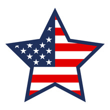 American Flag Textured Star Shape On White Background. Election Day, Vote For Democracy.