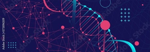 Fotografie, Obraz DNA abstract molecule