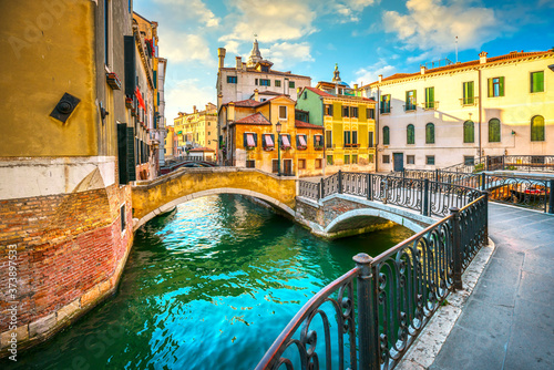 Venice cityscape, buildings, water canal and double bridge. Italy Canvas Print
