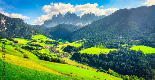 Fotografia Funes Valley aerial view and Odle mountains, Dolomites Alps, Italy