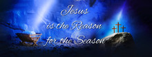 Christian Christmas And Easter Concept. Birth, Death, Resurrection Of Jesus Christ. Wooden Manger, Nativity Scene, Three Crosses Background. Jesus Is Reason For Season. Salvation, Messiah, Emmanuel