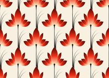 Red Dream Flowers Wallpaper Tile