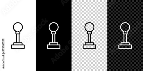 Slika na platnu Set line Gear shifter icon isolated on black and white background