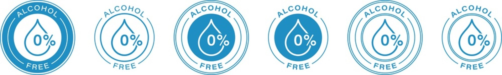 Alcohol free vector icon. Skin and body care cosmetic product medical alcohol free drop and percent symbol. Information label. Vector illustration.