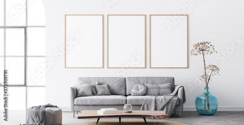 Fototapeta Frame mockup in interior living room design