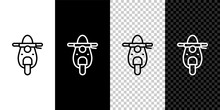 Set Line Scooter Icon Isolated...