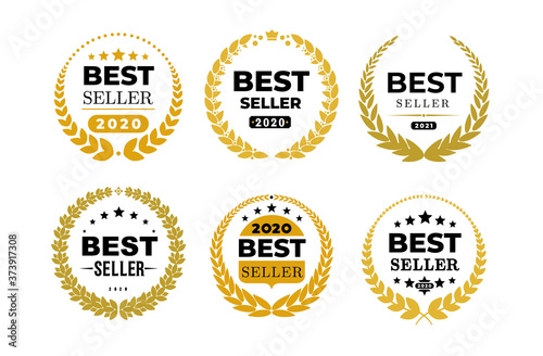 Set of awords Best Seller badge logo design Canvas Print