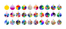 Set Of Segmented Circles. Various Number 0-30 Of Sectors Divide The Circle On Equal Parts. Colored Outline Graphics. Vector Illustration. Isolated On White Background.