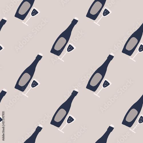 Fotografia, Obraz Pale seamless doodle wine elements pattern