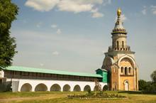 Candle Tower At Monastery Of Sts. Boris And Gleb (Novotorzhsky Borisoglebsky Monastery) In Torzhok. Tver Region. Russia