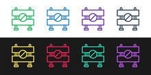 Set Line Road Barrier Icon Iso...