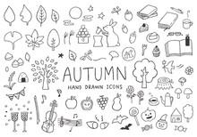 秋にまつわる手描きイ...