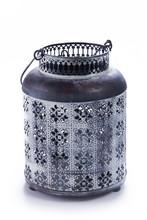 Vintage Metal Lantern Isolated On White. Design Interior