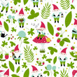 Seamless vector pattern with cute gsrdening gnomes.
