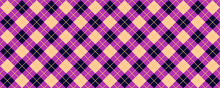 Purple, Pink Scottish Argyle Style. Diamond Pattern. Retro Argyle Pattern Checkered Texture From Rhombus, Squares Flat Tartan Checker Print. Vector Gingham And Bluffalo Check Line. Christmas, Xmass.