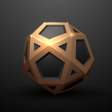 Abstract Gold And Black Geometric Dodecahedron Shape