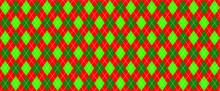 Green, Red Harlequin Scottish Argyle Style. Diamond Pattern. Retro Argyle Pattern Checkered Texture From Rhombus, Squares Flat Tartan Checker Vector Gingham And Bluffalo Check Line Christmas, Xmass
