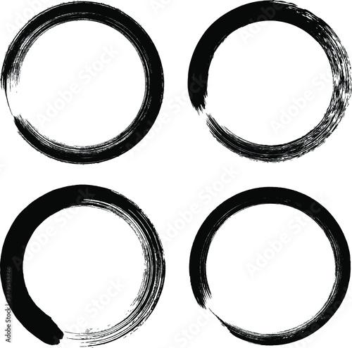 Circle ink brush stroke, calligraphy paint buddhism symbol, Zen enso, black paint round line, vector illustration Canvas