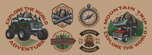 Set Of Color Vintage Badges For The Camping Theme On The White Background. Perfect For Posters, Apparel, T-shirt Design And Many Other. Layered