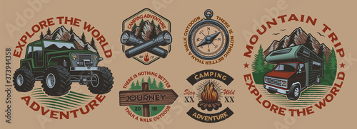 Fotomural Set of color vintage badges for the camping theme on the white background