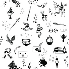 Seamless Pattern On A White Background. Items School Of Magic And Sorcery. Vector Illustration