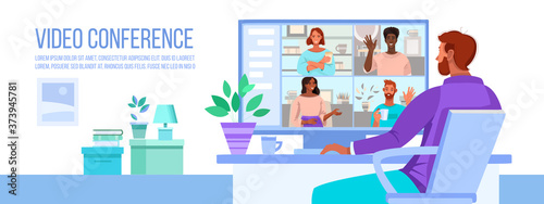 Obraz Video conference and call vector illustration with man working at home, computer screen with diverse people. Online virtual meeting flat banner with multinational people. Video conference concept - fototapety do salonu