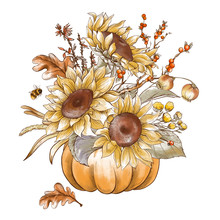 Vintage Fall Sunflowers, Pumpk...