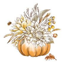 Vintage Fall Chrysanthemums, P...