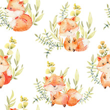 Watercolor Fox Pattern.