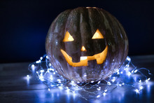 Halloween Pumpkin With Lights All Around.