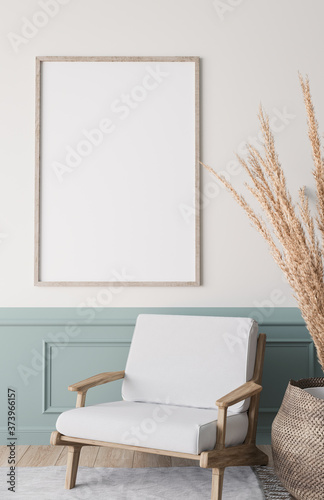 Mockup frame in bright living room design, vertical wooden frame on classic blue Tableau sur Toile